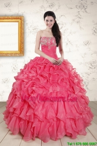 2015 Perfect Hot Pink Strapless Quinceanera Dresses with Beading and Ruffles