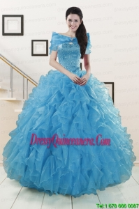 New Style Blue Quinceanera Dresses With Beading and Ruffles