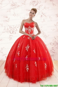 New Style Red Puffy Quinceanera Dresses with Appliques