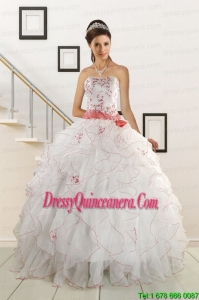 Sweetheart 2015 Perfect Quinceanera Dresses with Appliques and Belt
