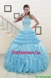 2015 Perfect Baby Blue Sweet 15 Dresses with Beading