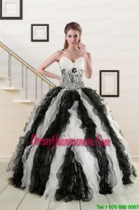 2015 Perfect Black and White Quinceanera Dresses with Zebra and Ruffles