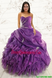 2015 Perfect Purple Ball Gown Quinceanera Dress with Appliques and Ruffles