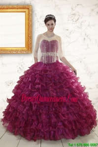 2015 Pretty Burgundy Quinceanera Gown with Beading and Ruffles