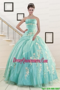 Perfect Blue Quinceanera Dresses with Appliques for 2015