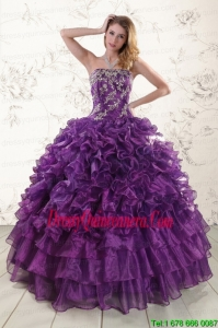 Perfect Purple Strapless 2015 Quinceanera Dress with Appliques