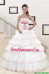 Perfect Ruffeld Layers 2015 Quinceanera Dresses with Appliques