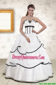 Perfect White and Black 2015 Quinceanera Dresses with Appliques