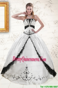 2015 Pretty Embroidery Quinceanera Dresses in White and Black