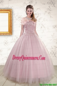 2015 Light Pink Strapless Vintage Sweet 16 Dresses with Appliques