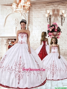 White Strapless Princesita Dress with Red Embroidery for 2015