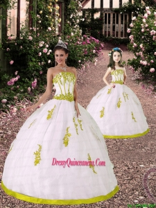 2015 Custom Made White and Yellow Green Princesita Dress with Appliques