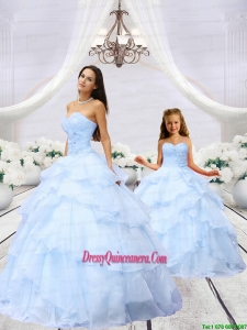 2015 Luxurious Light Blue Princesita Dress with Beading and Ruching