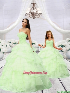 Most Popular Beading and Ruching Light Green Princesita Dress for 2015
