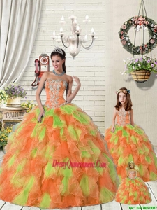 Top Seller Ruffles and Beading Orange Red and Green Princesita Dress for 2015