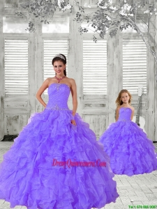 2015 Fashionable Beading and Ruching Lavender Princesita Dress