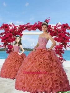 Classcial Beading and Ruffles Rust Red Princesita Dress