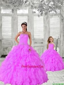 Fashionable Beading and Ruching Hot Pink Princesita Dress for 2015