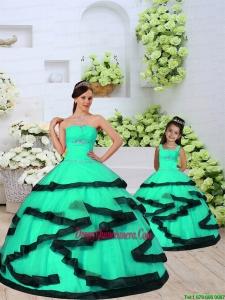 2015 Modest Beading and Ruching Princesita Dress in Turquoise