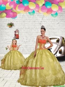 2015 Unique Beading and Embroidery Light Yellow Princesita Dress
