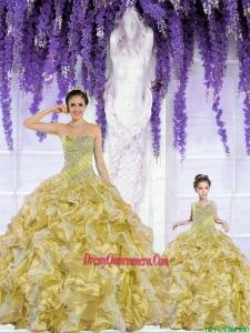 2015 Popular Organza Beading and Ruffles Gold Princesita Dress