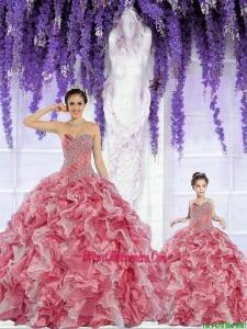 Beautiful Organza Beading and Ruffles Rust Red Princesita Dress