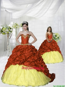 Customize Appliques and Pick-ups Rust Red Princesita Dress with Brush Train