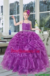 2015 Romantic Beading and Ruffles Organza Little Girl Pageant Dress with Halter