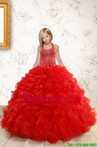 Beautiful Red Flower Girl Dress with Beading and Ruffles for 2015