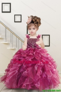 Custom Made Burgundy Little Girl Dress with Beading and Ruffles for 2015
