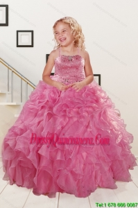 Trendy Pink Little Girl Dress with Beading and Ruffles for 2015 Spring