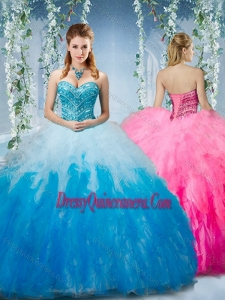 Artistic Gradient Color Big Puffy Classic Quinceanera Dresses with Beading and Ruffles