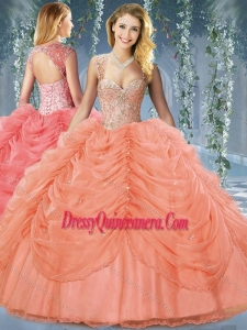 Classical Beaded and Bubble Big Puffy Organza Gorgeous Quinceanera Dresses in Orange Red