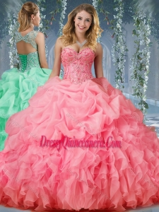 Luxurious Organza Big Puffy Watermelon Classic Quinceanera Dresses with Beading and Ruffles