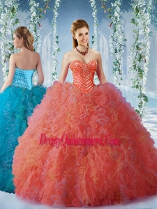 Popular Beaded and Ruffled Romantic Quinceanera Dresses with Big Puffy