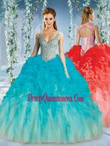 Beautiful Deep V Neck Big Puffy Simple Quinceanera Gowns with Beaded Decorated Cap Sleeves