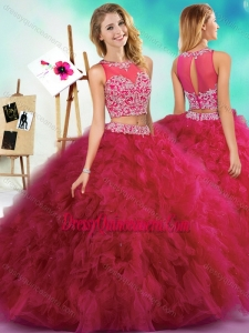 Classical Beaded and Ruffled Fuchsia Unique Sweet 16 Dresses with See Through