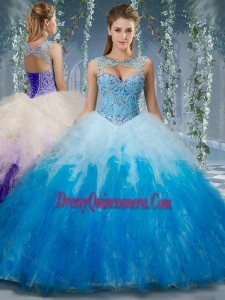 Exclusive Beaded and Ruffled Organza Traditional Quinceanera Gowns in Gradient Color