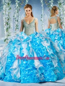 Exclusive Blue and White Unique Sweet 16 Dresses in Beaded Decorated Cap Sleeves