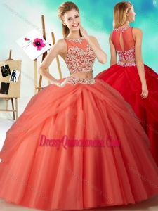 Two Piece See Through Beaded Romantic Quinceanera Dresses in Orange Red