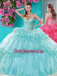 Gorgeous Beaded and Pick Ups Quinceanera Gown with Really Puffy