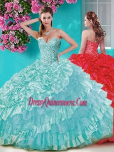 Gorgeous Big Puffy Sweet 16 Dress with Beading and Ruffles Layers