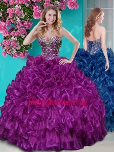 Really Puffy Ruffled and Rhinestoned Quinceanera Dress with Blue Beading