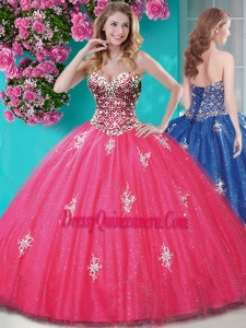 Romantic Beaded and Appliques Tulle Quinceanera Gown with Really Puffy