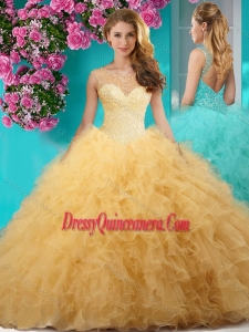 Delicate See Through Scoop Big Puffy Quinceanera Gown with Beading and Ruffles