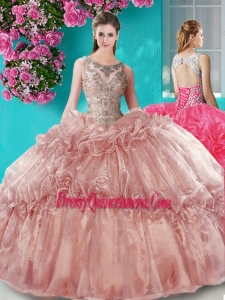 Really Puffy Beaded Bodice Scoop Organza Quinceanera Gown in Brown