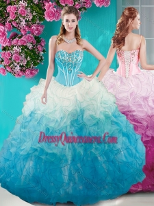 Romantic Beaded Bust White and Blue Quinceanera Dress in Organza