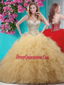 Simple Gold Really Puffy Quinceanera Dress with Beading and Ruffles