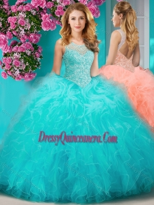 Sophisticated See Through Beaded Scoop Sweet 16 Dress with Ruffles