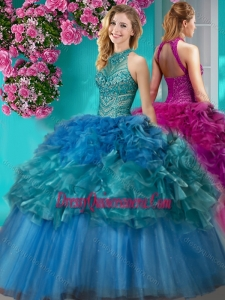 Traditional Really Puffy Beaded and Ruffled Quinceanera Gown with Halter Top